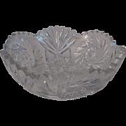 American Brilliant Period Cut Glass Bowl - Hobstar Cut