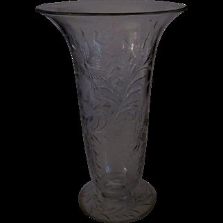 Beautiful Crystal Cut & Etched Glass Trumpet Vase - Stylized & Floral & Vine Design c. 1915