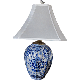 Large Antique Delft Lamp - Hand Painted Floral Design -Pagoda Style Shade
