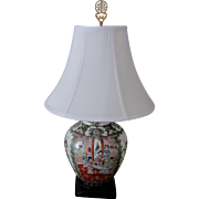 Rose Medallion Style Porcelain Lamp/Wood Base/White Shade/Chinese Brass Finial