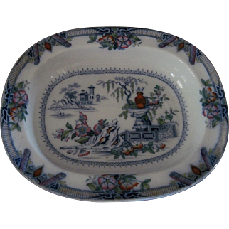Lovely 19th c. Pearl Ware Serving Bowl/Platter in the Chinese Manner