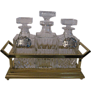 3 - Crystal Decanters/Brass Frame Tantalus