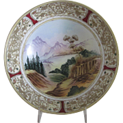 Japanese Moriage Porcelain Bowl - Beautiful Hand Painted Mountain Scene