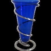 Blue Glass Trumpet Vase/Silver Frame