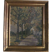"""Antique Oil on Board Painting """"Tree Lined Country Road"""" - Impressionist Style"""