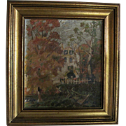 "Antique Oil on Board Painting ""House in the Country"" - Impressionist Style"