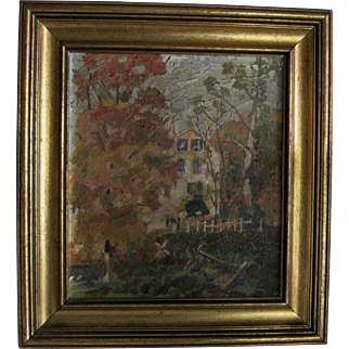 """Antique Oil on Board Painting """"House in the Country"""" - Impressionist Style"""