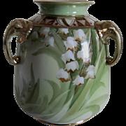 Japanese Hand Painted Art Deco Vase - Triple Elephant Handles