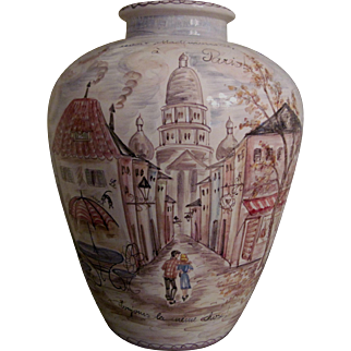 "Impressive Large Mid-20th c. Vase ""Parisian Scenes"" - Ulmer Keramik Factory - Artist Signed"