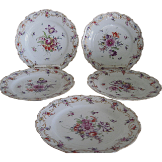 Five Beautifully Hand Painted Dresden Plates