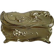 Art Nouveau Jewelry Casket - Gold Finish/Pink Silk