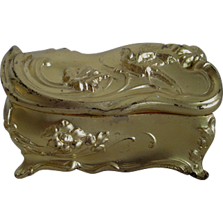 Art Nouveau Jewelry Casket - Gold Finish/Pink Silk