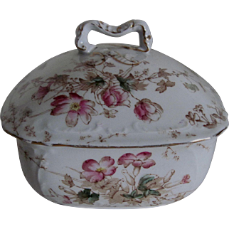 Charming Staffordshire Floral Soap Dish/w Cover - Bridgwood & Son, England