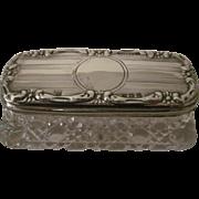 Antique Cut Glass & Sterling Silver Dresser Jar