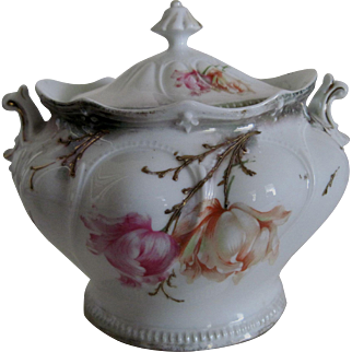 Large R.S. Prussia Sugar Bow/Jar with Original Cover