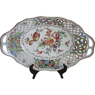Lovely  H.P. Antique Dresden Serving Bowl/Dish - Trellis Design