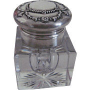 Sterling Silver Cut Glass Inkwell by Gorham Co., c.1870