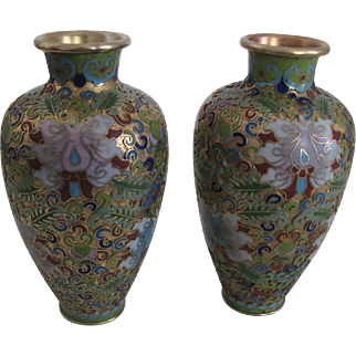 Matching Pr. Vintage Chinese Cloisonne Vases - Vibrant Colors- Mint Cond.