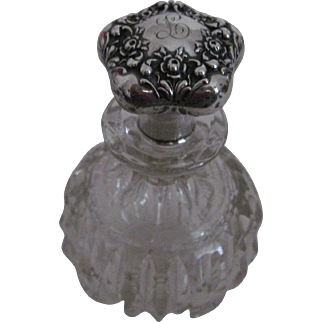 Beautiful Antique Cut Glass/Sterling Silver Perfume Bottle