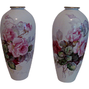 Pr. Beautiful Hand Painted Porcelain Vases - Artist Signed - Noritake/Nippon