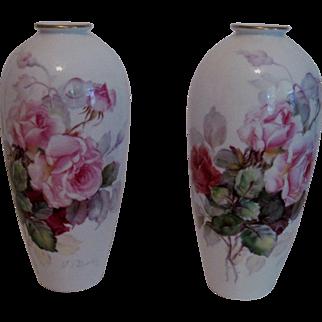Pr. Beautiful Hand Painted Porcelain Vases - Artist Signed - Noritake/Nippon