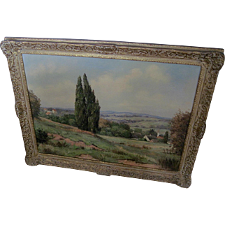 """Large 19th Century Painting (o/c) """"CountrySide"""" by German Artist - Signed"""
