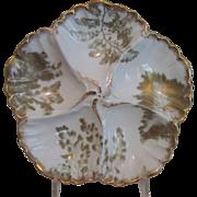 Antique Limoges Oyster Plate - T&V, France - Sea Fern/Gold Gilt