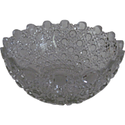 ABP Cut Glass Berry Bowl /Unique Sawtooth Border -Libbey