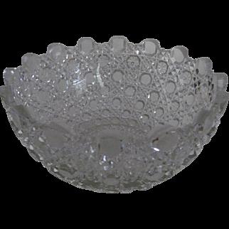 ABP Cut Glass Berry Bowl /Unique Sawtooth Border -Libbey