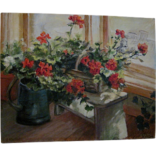 """Painting (Oil on Canvas) """"Geraniums in a Basket"""" - Artist Signed"""
