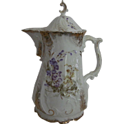 KPM Porcelain Chocolate Pot - Floral & Gold Gilt