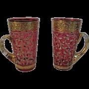 Matching Pr. Cranberry Red Moser Art Glass Drinking Glasses/Mugs