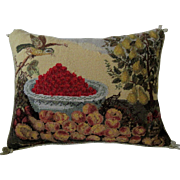 "Large Designer Needlepoint Pillow ""Fruits & Bird"" -K. Diddel"