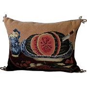 "Large Designer (K. Diddel) Needplepoint Pillow ""Fruit in A Bowl"""