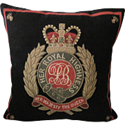 """British Tapestry Pillow """"Her Majesty the Queen."""""""