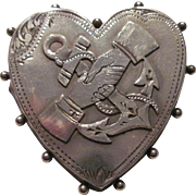 "Victorian Sterling Silver Heart Pin/Brooch ""Anchor w/Embraced Hands"" Late 19c"