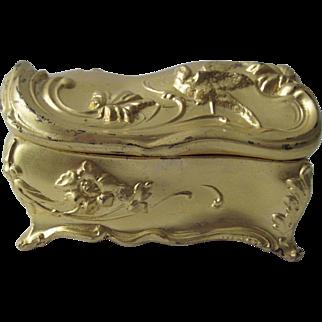 Art Nouveau Jewelry Casket/Box - Gold Color Finish/Pink Silk