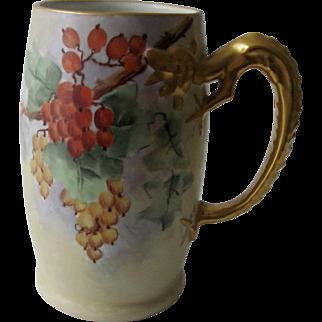 Antique H.P. Porcelain Stein/Mug -  Unique Gilded Gold Dragon Handle