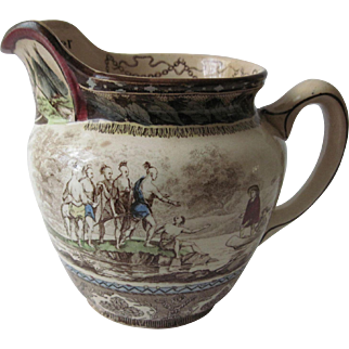 """Antique Buffalo Pottery Historical Pitcher """"Landing of Roger Williams"""""""