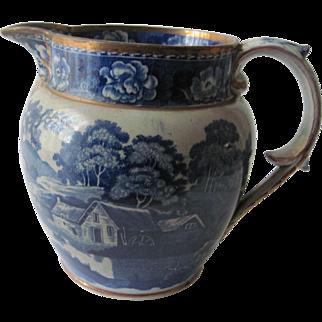 Historical Blue Staffordshire Transferware Pitcher c.1840
