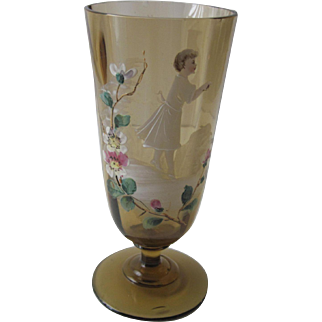 Hand Blown Vintage Tumbler - Hand Painted Floral Mary Gregory Design