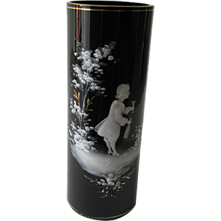 Victorian Black Glass Vase - White Enamel Mary Gregory Design