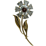 Original 1940's 14kt Solid Yellow Gold Rare French Cut Natural multi stone Aquamarine Flower Pin...Very Nice !