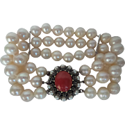 Large Antique Silver and 14kt Gold 3 Strand 9mm Cultured Pearl Bracelet with Large Natural Deep Orange Coral and Rose Cut Diamond Clasp