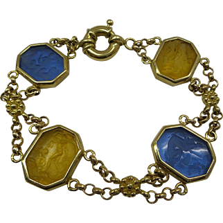 Estate 1960s Solid 14kt  Italy 4 section linked  Neo Classical Venetian Glass Intaglio Bracelet.  Stunning