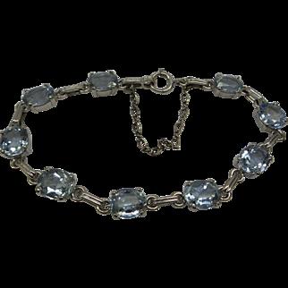 Lovely Estate 1950's 14kt Solid White Gold 9 section Natural Faceted Aquamarine linked Bracelet....13.5 carats