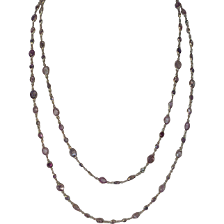 "Stunning 14kt Solid Gold Natural Multi-Color Gemstone 34"" Linked Necklace...100 stones over 10 cts. total"
