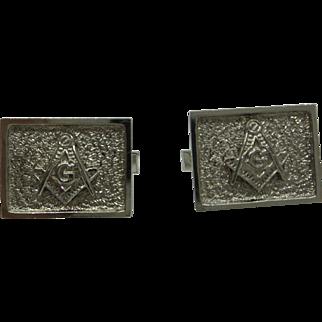 Estate Solid 14kt. White Gold 1950s Masonic Cufflinks...Very Nice