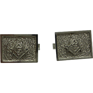 Estate Solid 14kt. White Gold 1950s Masonic Cufflinks...Very Nice