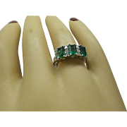 Fine Custom Made Estate Solid 18kt White Gold 3 Natural Columbian Emeralds tot.  1.73 cts. and Natural Fine Diamonds tot. .43 cts. Ring.....Very Nice